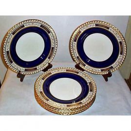 4 Minton made for Tiffany cobalt dinner plates with raised gilding, 10 1/2 inches, Sold