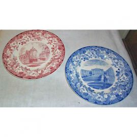 Large collection of Wedgwood Harvard plates, blue and white-1927, red and white-1940s, Price on Request
