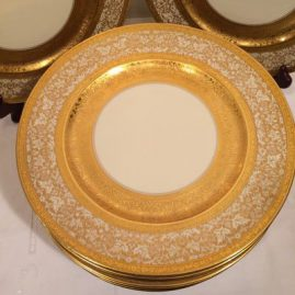 Close up of one of the set of twelve  of the gilded Heinrich and company service or dinner plates. Circa-1930s.  Price on Request