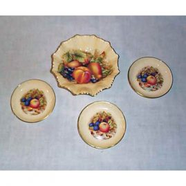 3 Aynsley fruit salts, $55.00 each, and Aynsley fruit candy bowl, Sold
