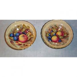 Aynsley compotes with fruit, 5 1/2 inches, Sold