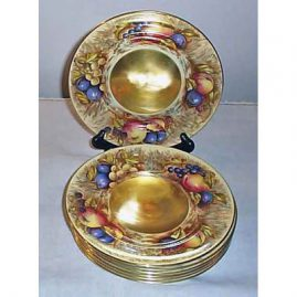 7 Aynsley gilt fruit plates signed H. Brunk, 8 1/2 inches, Sold