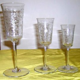 Baccarat stemware with engraved animals and birds decoration