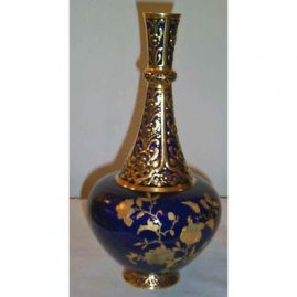Back of Royal Crown Derby  cobalt vase, made for Davis Collamore