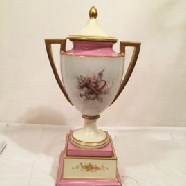 "Back of French ""Sevres"" pink portrait urn, Chateau de Tuileries, 1848, signed Brun, 15"" tall, $2400.00"