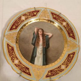 Royal Vienna Plate of lady with long red hair named Bardot artist signed Wagner, under glaze blue beehive mark, 9 5/8 inches. Price on Request