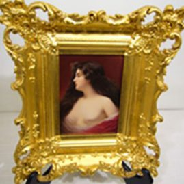 Hutchenreuther porcelain plaque of scantily dressed beautiful lady in gilt frame artist signed Berk, late 19th century, framed-14 1/2 inches by 12 inches, Unframed 4 1/2 inches by 6 3/4 inches, Sold.