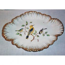 Berlin bowl with birds, scepter mark, 13 1/2 inches long, $995.00