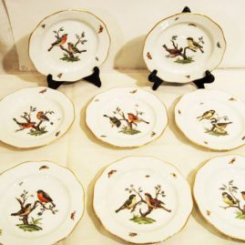 Set of eight Berlin KPM bird plates, each painted with different birds. circa-late 19th century, scepter mark, 7 inches, Sold.