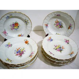Set of twelve Berlin, KPM wide rim soups all painted differently