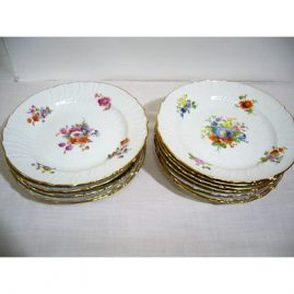 Set of 12 Berlin KPM dinner plates, each painted with different flower bouquets