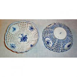 Berlin reticulated bowls with butterflies and flowers, septre mark