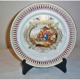 Berlin reticulated scenic plate, with people dancing and playing music, 9 1/4 inches, Price on Request