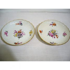 Berlin KPM serving bowls, 19th century, each painted differently, 8 3/4 inches, $595.00 each. We also have a larger round bowl to go with these which is 9 1/2 inches, $795.00