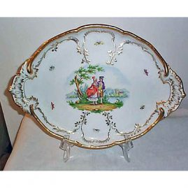 Berlin tray with lovers and butterflies, septre mark, 17 inches, $1200.00