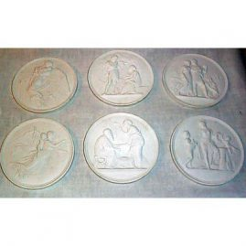 6 Bing & Grondyl plaques, all white bisque, $165.00 each