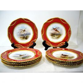 "10 Wedgwood luncheon or dessert plates, each with different bird scenes artist signed J. H. Plumber, ca-1899, 9 1/4"", Sold"