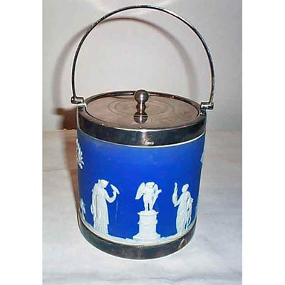 Wedgwood biscuit jar, before 1890, top says presented to Mrs. Pickup, Dec 22, 1920