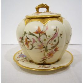 "Rare Royal Worcester biscuit jar with matching underplate, ca-1891, 8"" by 8"", Sold"