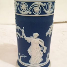 Dark blue jasperware cylindrical vase, before 1890s. Height 4 1/2 inches, Price on Request.