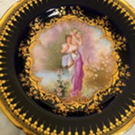 Ambrosius Lamb Dresden cobalt plate with painting of lady with cherub