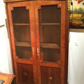 Inlaid cabinet which can be  used as a book case or a china cabinet, 64 inches tall, 12 inches deep, 34 inches wide, Price on Request