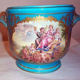 Beautifully painted French cache pot in celeste blue, height-7 inches, Price on Request