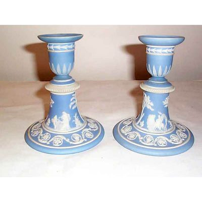Pair of Wedgwood light blue candlesticks, 1890-1920