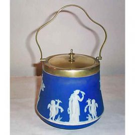 Wedgwood dark blue biscuit jar, before 1890, 10 inches, $550.00