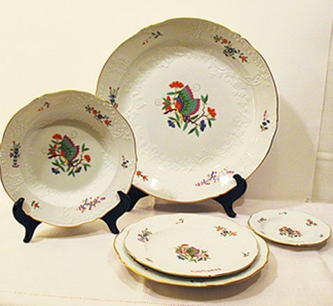 We have a service for twelve of this rare Meissen Chinese butterfly set including dinners, lunches or desserts and breads. We also have a tureen. Prices on Request.