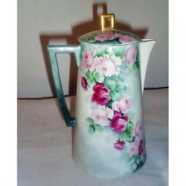 Bavarian coffee or chocolate pot, hand painted, dated 1909, $595.00