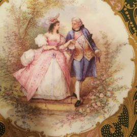Sevres plaque or charger with scene of lovers and raised gilding artist signed Poitevin,  Chateau de Tuileries, 1846, diameter-13 1/8 inches. Price on Request