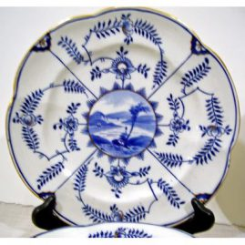 Close up of Coalport Salopian plates, ca-1880s-1890s, 9 1/2 inches, Sold