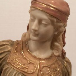 Close up of the Royal Worcester figure of a lady with a shovel, 13 1/2 inches tall, signed Hadley, ca-1892, $1895.00