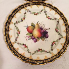 Close up of one of the set of 12 Royal Worcester fruit plates artist signed E. Phillips, each painted with different fruits, circa-1923, 8 3/4 inches. Price on Request.