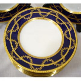 "Close up of one of 12 beautiful Minton cobalt blue with raised gilding salad or dessert plates, 1890-1920, 10 1/4 "", Sold"
