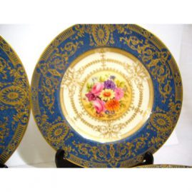"Close-up of one of the set of 12 Royal Worcester plates, 11 artist signed William Hale, the 12th signed E. Townsend, all painted with different bouquets of flowers, ca-1930, 10 1/2 "", Sold"
