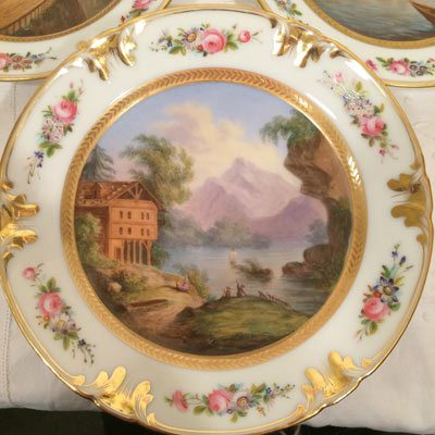 Close up of one of the set of six well painted Paris Porcekain scenic plates,each painted differently