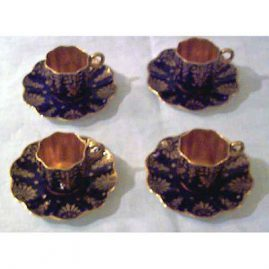 Coalport cobalt and gold cabinet cups and saucers