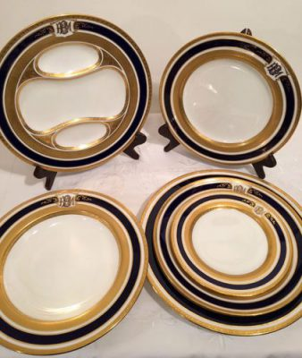 Rare cobalt and gold Coalport dinner service