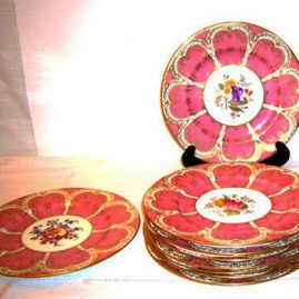 10 Coalport pink dinner plates each painted with different fruits on each plate, 1890-1921, Price on Request.