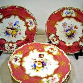 Set of 12 pink Coalport luncheon or dessert plates artist signed F. Howard, each painted with different bouquets, ca-1890-1920, 9 inches, Price on Request