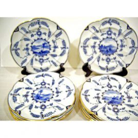 "12 Coalport Salopian fluted plates, each painted with different scenes 9 1/2"", ca-1880-1890, Sold"