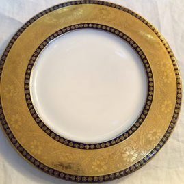 Set of twelve Hutchenreuther cobalt and gold service dinner plates, Price on Request