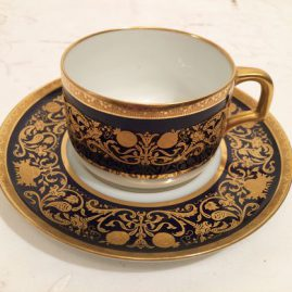 Set of 10 cobalt with raised gold Hutchenreuther cups and saucers, Price on Request