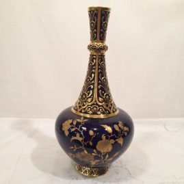 Royal Crown Derby cobalt and gold vase, 12 1/2 inches tall, ca-1885, $2400.00
