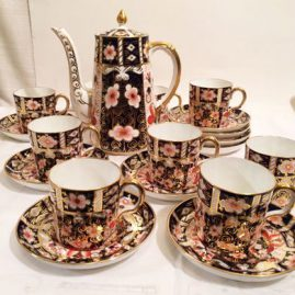 Royal Crown Derby imari coffee pot and nine Royal Crown Derby imari made for Tiffany demitasse cups and saucers;. Also available nine Royal Crown Derby Imari dessert or salad plates-8 1/2 inch diameter. Price on Request