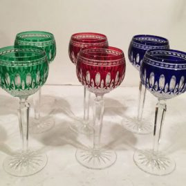 Set of six multicolored Waterford crystal goblets. Height is 8 inches. Only three left, two green and one red. Can be sold separately.