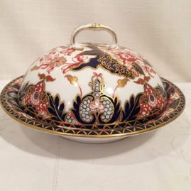 Royal Crown Derby Imari covered butter or pancake bowl. Circa-1878. Size is 9 1/2 inch diameter by 6 inches tall. Price on Request.