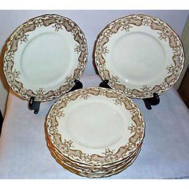 10 Royal Doulton dinner or service plates,  cream with raised gilding, ca-1908, Sold